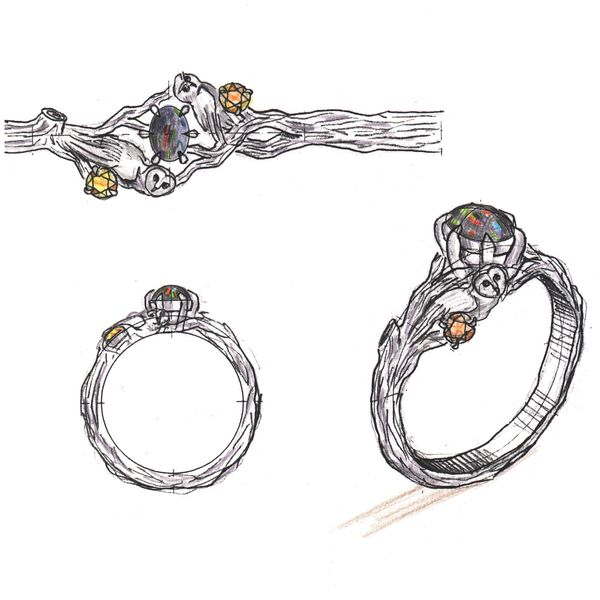 Design sketches for an owl engagement ring with an opal center stone surrounded by a barn owl and an elf owl, which represent the couple.