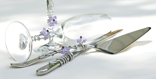 Custom Made Custom Wedding Cake Server Set And Matching Toasting Flutes