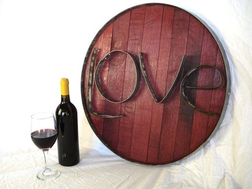Custom Made Barrel Head And Ring Art -  Live  - Authentic Wine Barrel Head  Sign