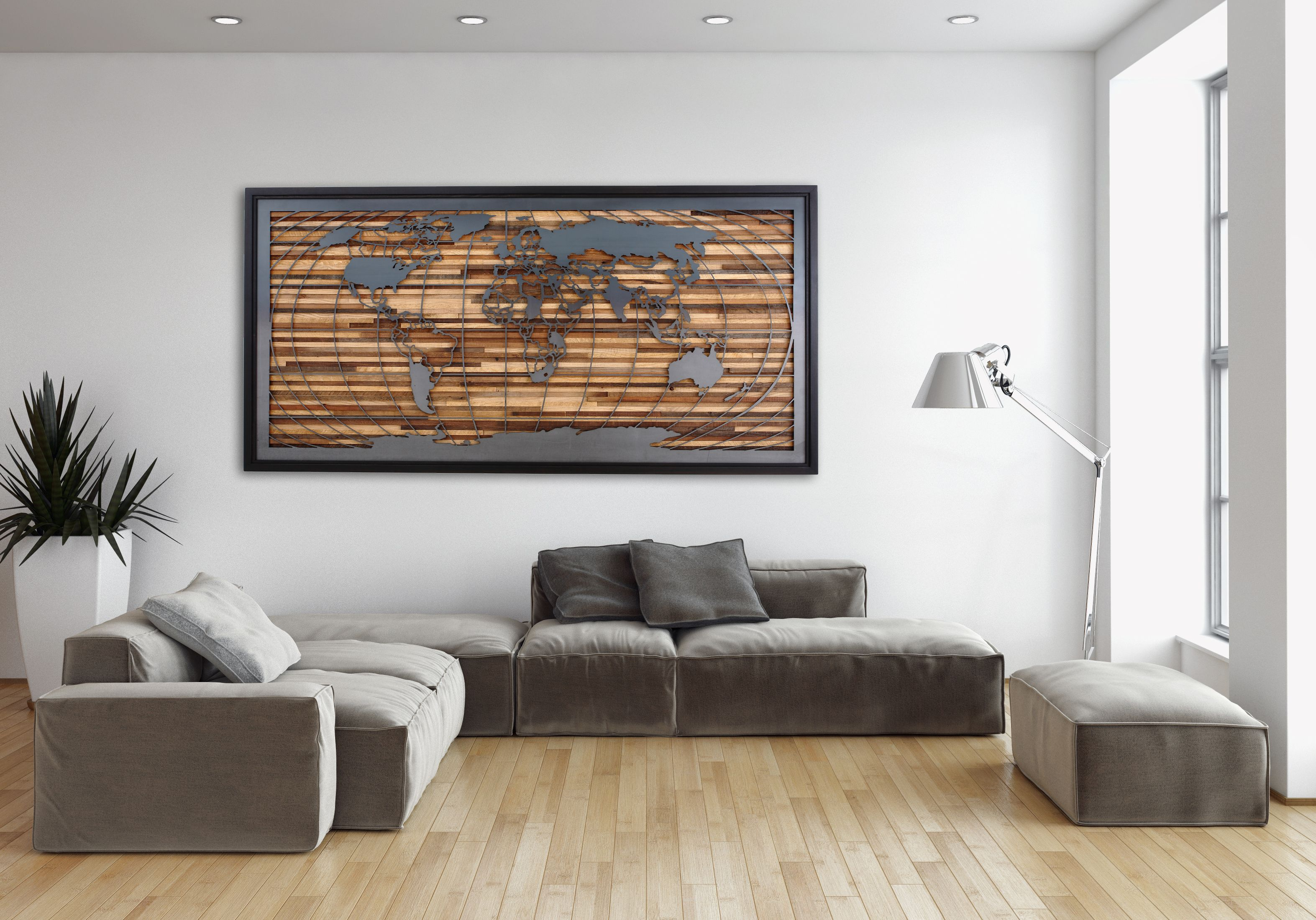 Custom made world map artwork made of old barnwood and natural steel custom made world map artwork made of old barnwood and natural steel 48 by carpentercraig custommade gumiabroncs Gallery