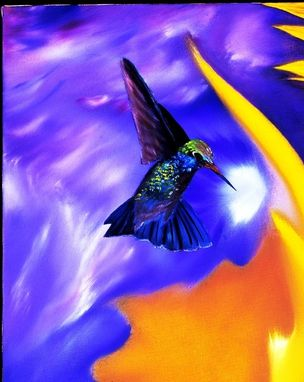 Custom Made Hummingbird Sunflower Rose Print With Vibrant Colors Of Yellow, Blue, Green And Red