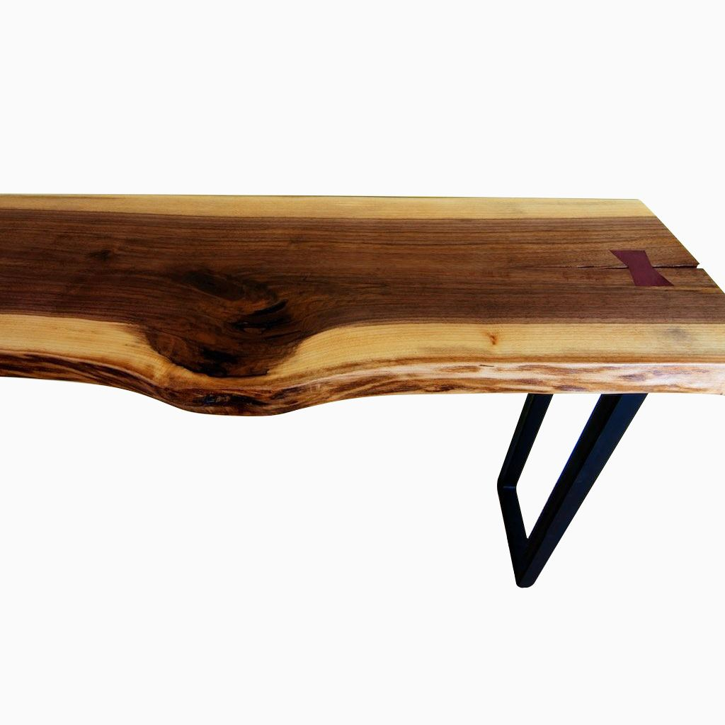 Vintage Industrial Live Edge Walnut Slab Coffee Table: Hand Crafted Black Walnut Live Edge Table Top With