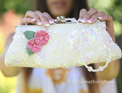 Custom Made Up-Cycled Ivory Beaded Vintage Purse With Pink Vintage Flowers, Wedding Clutch