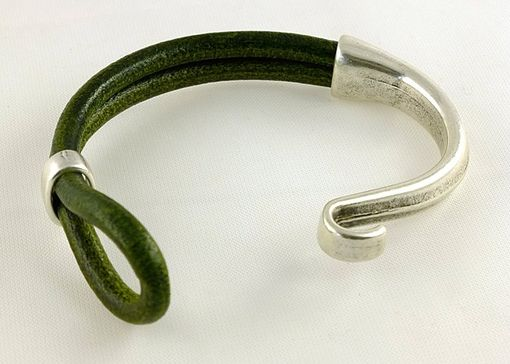 Custom Made Moss Green European Licorice Leather Cuff Bracelet