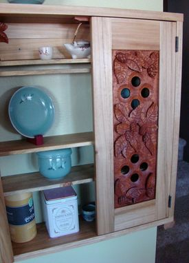 Custom Made Hand Carved Hops Wall Cabinet