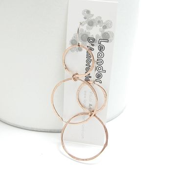 Custom Made Copper Loop Earrings - Large Copper Dangles - Hoop Earrings - Copper Hoops