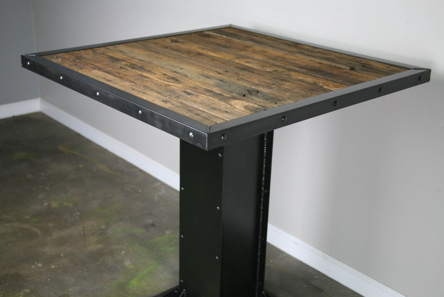 A Hand Made Bistro Dining Table Modern Design Steel Reclaimed Wood Great For Restaurant Or Bar To Order From Combine 9
