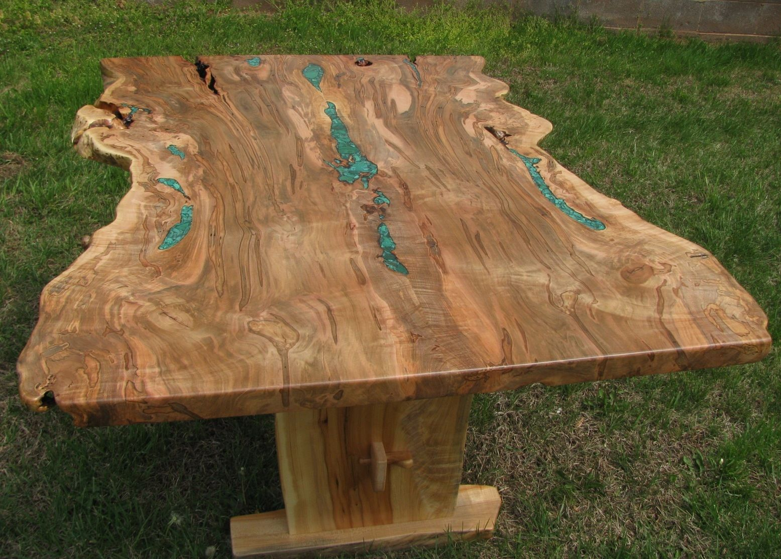 Hand crafted live edge ambrosia maple dining trestle table for Maple wood slab