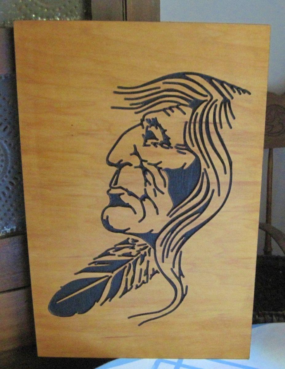 Custom native american indian handmade wood carving wall art by