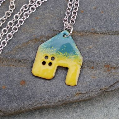 Custom Made House Pendant Copper Enamel Home Necklace Enameled Jewelry - Yellow Green