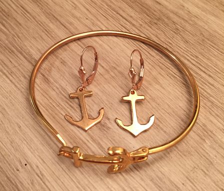 Custom Made Anchor Earrings In Gold