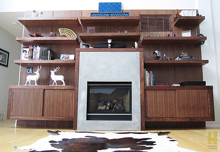 hand crafted custom cabinetry modern walnut shelves cabinets by