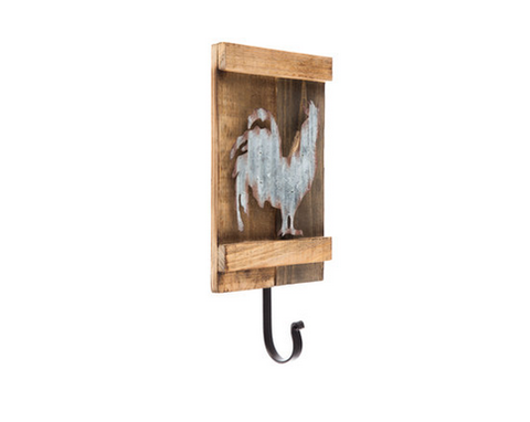 Custom Made Rooster Wood Wall Decor With Hook