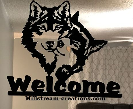 Custom Made Metal Welcome Sign With Wolf Pair