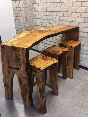 Custom Made Spalted Big Leaf Maple Bar With Matching Stools