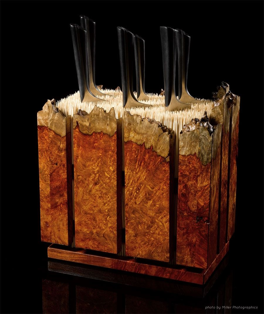 custom amboyna burl knife block by where wood meets steel. Black Bedroom Furniture Sets. Home Design Ideas