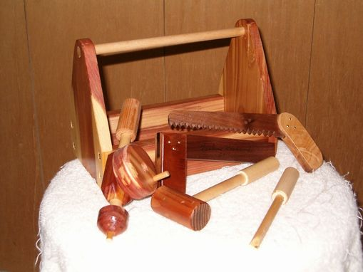Custom Made Kids Wood Tool Boxe With Tools, & Sleigh What-Not Shelf