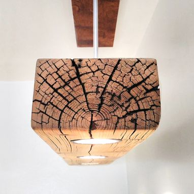 Custom Made Reclaimed Wood Beam Spot Led Light Fixture With Screw-Less Metal Canopy Base