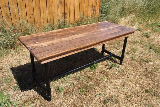 Custom Made Reclaimed Barnwood Table With Pipe Legs