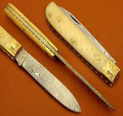 Custom Made Damascus Folding Knife