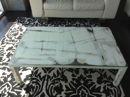 Custom Made Sexy Steel Low Coffee Table In Titanium White, Cream, And Almond