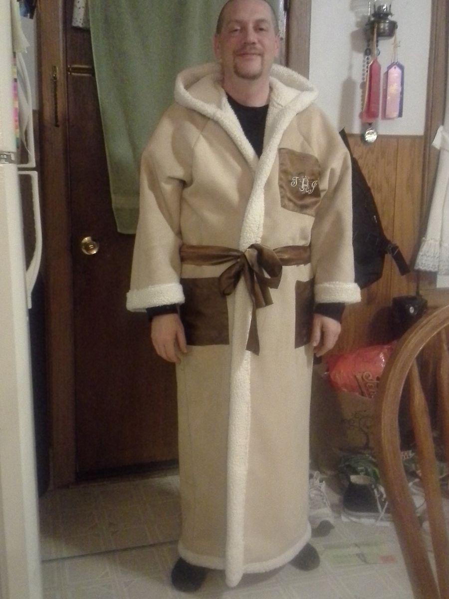 2dce481d5a Hand Crafted Men s Sherpa Long Hooded Robe by Tony Bud s Sewing ...