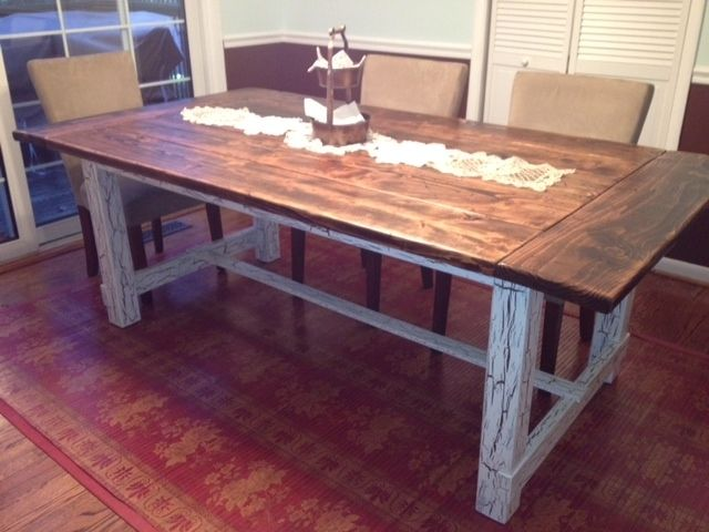 Custom Made Reclaimed Wood Trestle Style Farmhouse Table. Hand Made Reclaimed Wood Trestle Style Farmhouse Table by