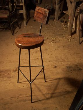 Custom Made Reclaimed Oak Bar Stools With Industrial Legs And Back Rest