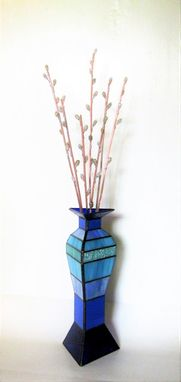 Custom Made Pussy Willows In Modern Blue Vase - Stained Glass, And Flame Worked 3d Glass Sculpture
