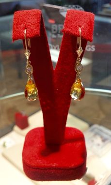 Custom Made Whiskey Quartz And Diamond Dangle Lever Back Earrings