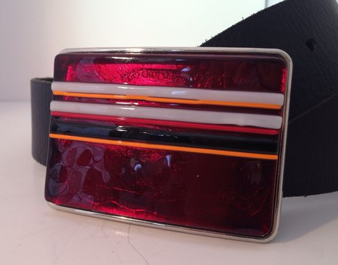 Custom Made Bright Red Fused Glass Belt Buckle
