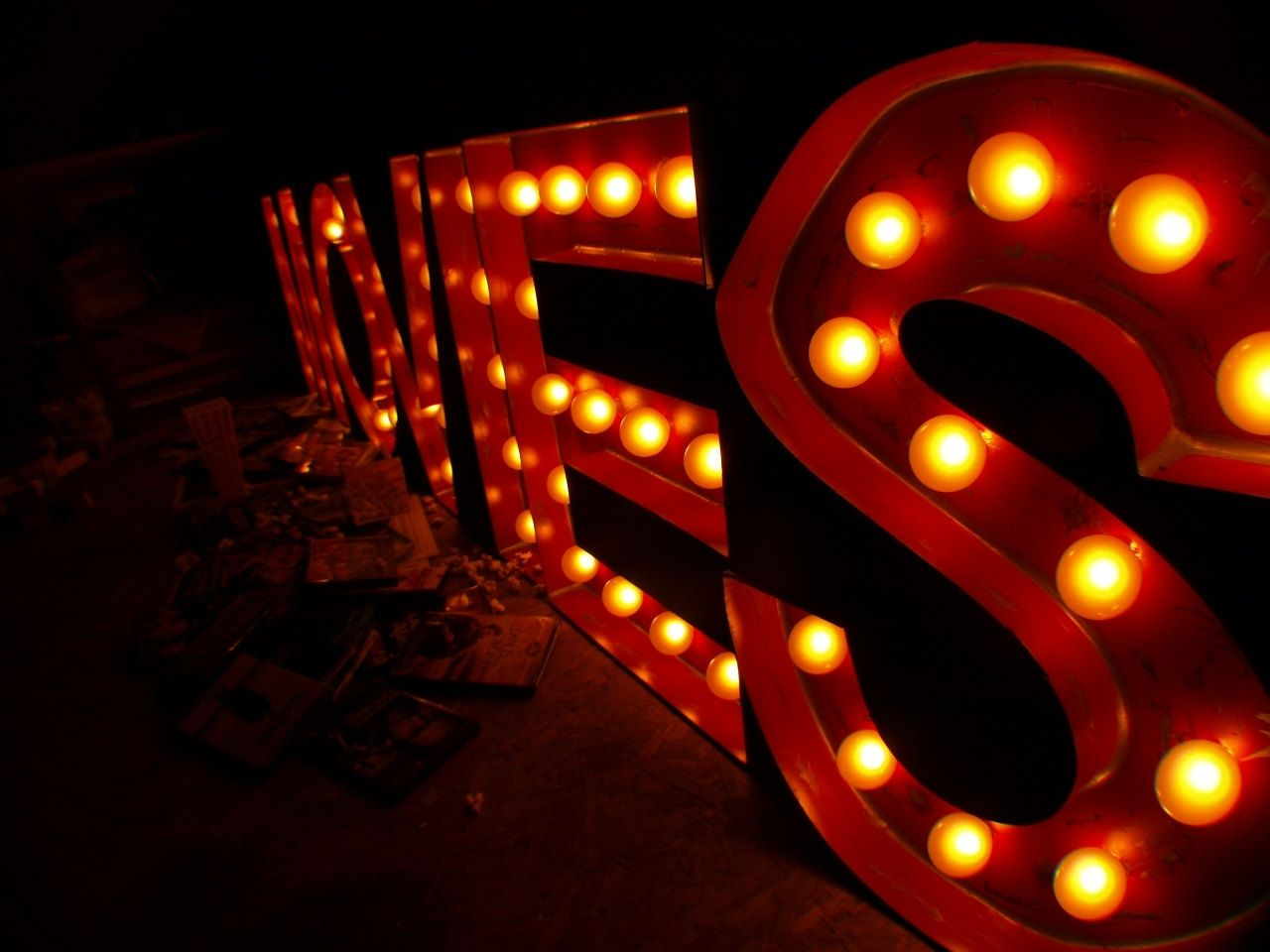 Custom Made Movie Theater Vintage Marquee Art Letter Bulb Channel 2ft X