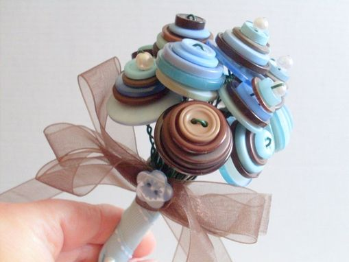 Custom Made Blue And Brown Buttons Wedding Toss Bouquet