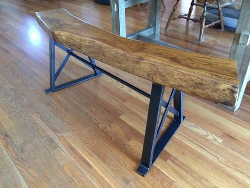 Custom Made Wood Slab Bench