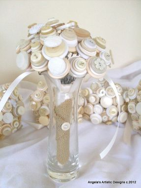 Custom Made Vintage Cream Buttons Bridal Bouquet Set