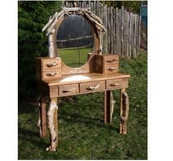 Hobbit Rustic Dressing Table Vanity Desk With Oval Mirror
