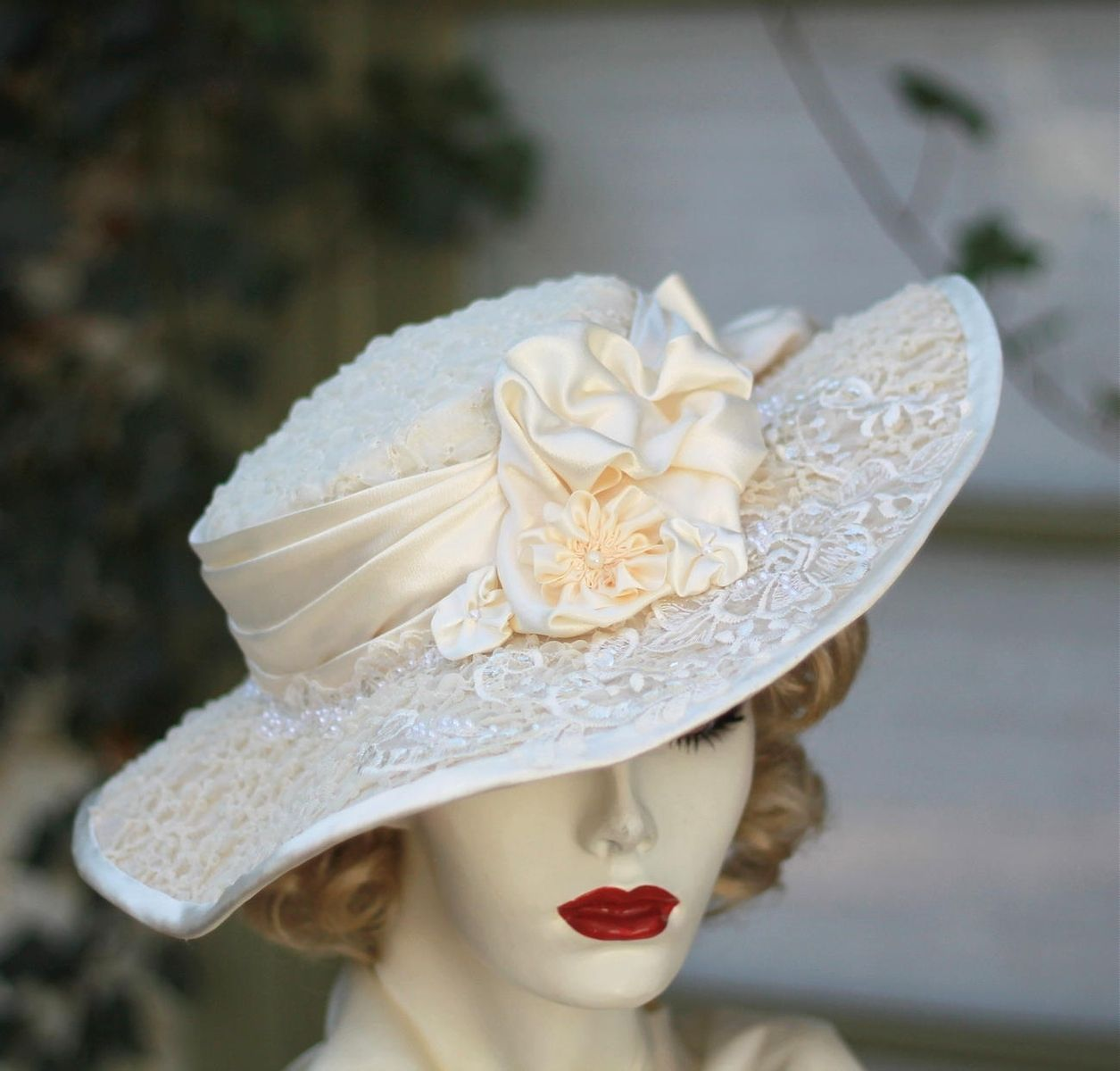 Hand Crafted Vintage Edwardian Hat Formal Tea Party