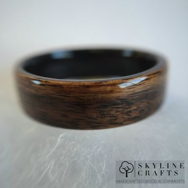 Custom Made Rosewood Bentwood Ring With Ebony Interior. Handcrafted Wood Ring. Handmade Rosewood Ring.