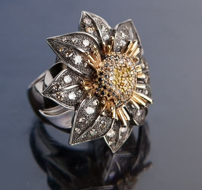 Custom Made Mystic Wonder-Dahila Flower Ring, Sterling Silver, 14k Yellow Gold, 2 1/2 Carats Of Colored Diamonds