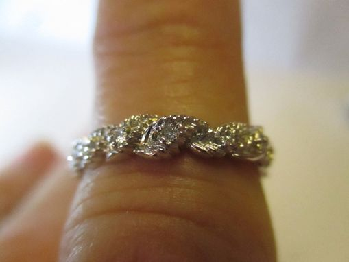 Custom Made 14k White Gold Elvish Leaves Wedding Band Set With Rubies, Sapphires Or Diamonds