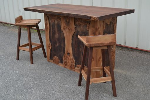 Custom Made Live Edge Elm Burl And Walnut Bar With 2 Handcarved Stools