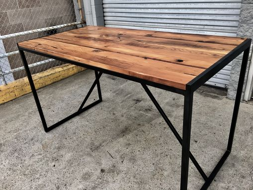 Industrial Reclaimed Wood Table With Blackened Steel Base. Hand Crafted Industrial Reclaimed Wood Table With Blackened Steel
