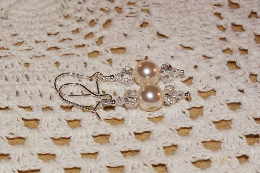 Custom Made White Swaroski Pearl & Clear Crystal Earrings In Sterling Silver - Wedding, Bridal, Special Occasion