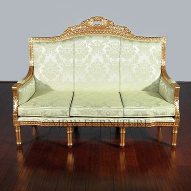 Custom Made 6ft Wide Solid Mahogany Gold French 3-Seat Couch Sofa
