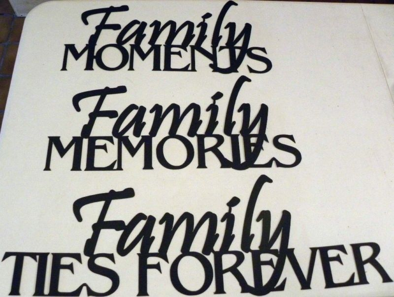 Hand Made Family Memories Phrase Set 3 Piece Steel Metal