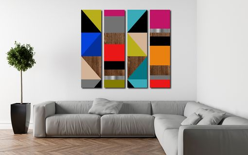 Custom Made 4-Panel Modern Art - Modern Abstract Art, Large Art, Geometric, Mid Century Modern, Painting