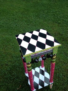 Custom Made Hand Painted Accent Table - Harlequin