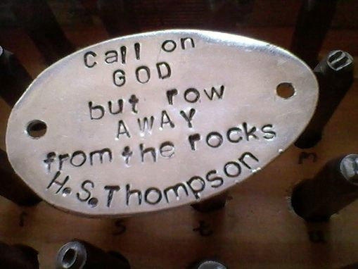 Custom Made Hunter S Thompson-Call On God- Handstamped On An Upcycled Belt Leather Cuff-Silverware Jewelry