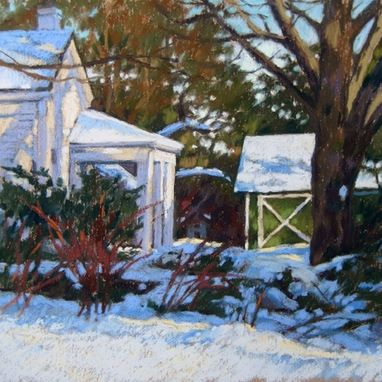 Custom Made Winter Home Portrait Paintings, 10 X 10 Inches
