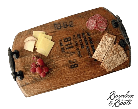 Custom Made Bourbon Barrel Wooden Serving Tray With Rustic Iron Handles